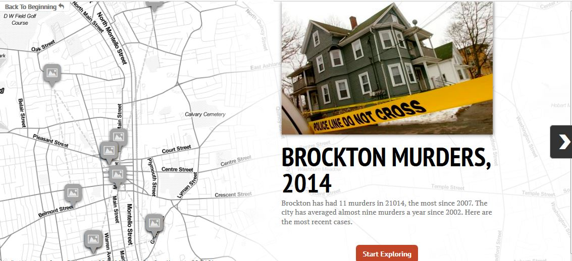 Map of Brockton murders in 2014